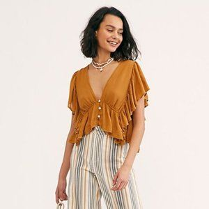 Free People Terracotta Button Front Ruffle Top S